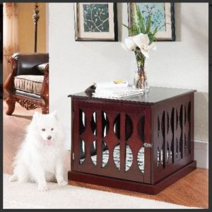 Furniture Puppy Pad Cage Mahogany