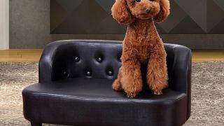 ブラックレザータイプのドッグソファ/PawHut Black Dog Sofa