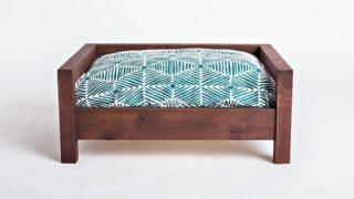 重厚な木製フレームドッグベッド/Hard Wood Frame Dog Bed