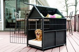 お洒落で収納便利なラタン製ケージ/Rattan Pet Crate with Storage