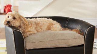 レザー調のお洒落ドッグソファ/Faux leather Dog Bed