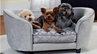夏らしいライトグレーのドッグベッド/Cool Velvet Dog Bed