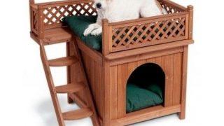 楽しいロフト付きドッグハウス/Modern Wood Dog House