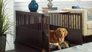 大型犬も快適なサイドテーブル兼用木製ケージ/Dog Crate End Table