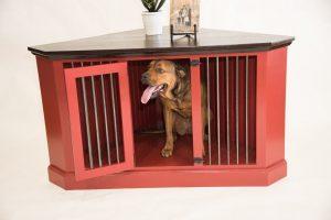 お洒落で便利なコーナー型ウッドケージ/Corner Credenza Dog Crate