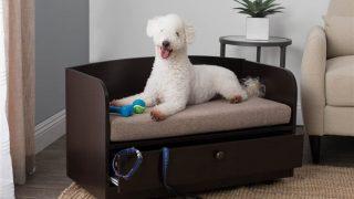 シンプルで収納が便利なドッグベッド/Dog Bed with Storage Drawer